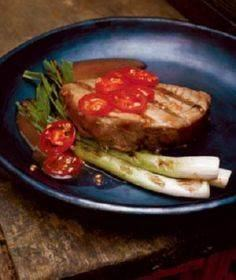 Tuna Steaks With Grilled Scallions - 400 Tasty Tuna Recipes - RecipePin.com