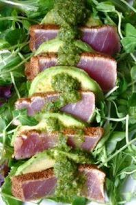 Chili Crusted Ahi Tuna & Avoca - 400 Tasty Tuna Recipes - RecipePin.com