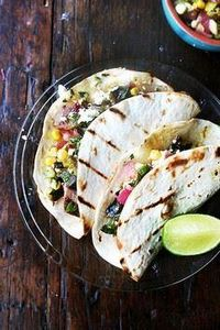 tacos with grilled poblano, corn   - 165 Vegetarian Recipes - RecipePin.com
