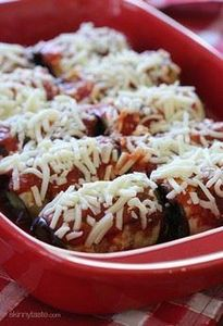 These eggplant rolls are BAKED, no - 385 Veggie Swaps Recipes - RecipePin.com
