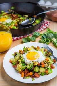 Brussels Sprout Hash with Sweet Po - 385 Veggie Swaps Recipes - RecipePin.com