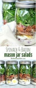 Spinach and Bacon Mason Jar Salads - 285 Appetizing Wheat Belly Recipes - RecipePin.com