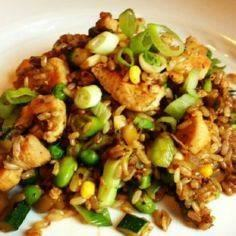 Brown Fried Rice with Chicken  - 60 Wok Recipes - Popular Stir-Fry and Wok Recipes - RecipePin.com